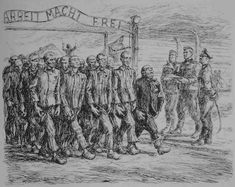 """Figure 1. This pen-and-ink drawing under the title """"Wymarsz komand do praxy"""" (""""Marching to work""""), from the cycle """"Day of the prisoner"""" (195..."""