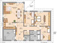 Kern-Haus Bungalow Balance Grundriss Erdgeschoss Bungalow Floor Plans, Craftsman Floor Plans, House Floor Plans, Sims House Plans, Modern House Plans, Building Plans, Building A House, 4 Bedroom House Plans, Corner House