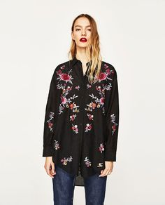 Image 2 of FLORAL EMBROIDERY SHIRT from Zara