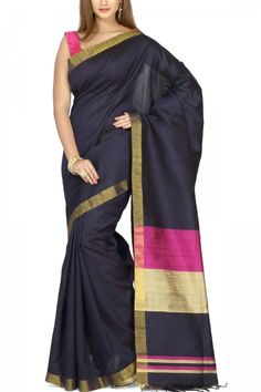 Midnight Blue & Pink Zari Border Pure Dupion Silk Saree