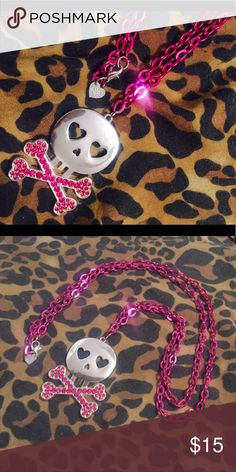 ABBEY DAWN SKULL CHAIN Abbey Dawn by Avril Lavigne Pink Skull Chain abbey dawn Jewelry Necklaces