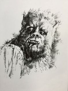 Basil Gogos drawing of Leon from Curse of the Werewolf