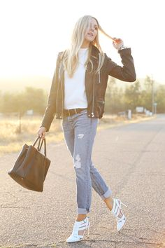 We're all about the #distresseddenim and #leatherjacket combo!