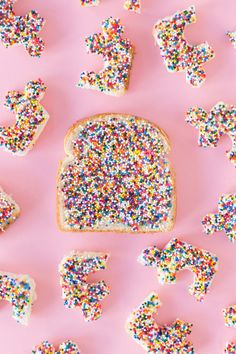 fairy bread -- an Australian party treat of bread spread with butter and topped with sprinkles.