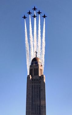 The Blue Angels flew over Lincoln Wednesday before this weekend's Air Show. Take a look at pictures here. Us Military Aircraft, Navy Aircraft, Military Jets, Fighter Aircraft, Fighter Jets, Fighter Pilot, Us Navy Blue Angels, Skier, Military Humor