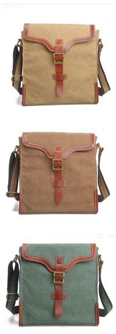 Cross -body bag Genuine Cow Leather Men's leather   bag canvas Bag/ leather canvas Briefcase / Messenger   bag (m6873) - Thumbnail 4