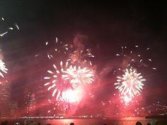 Macy's fireworks from three boats