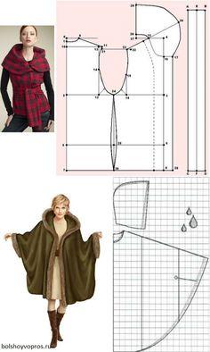 Poncho Pattern Sewing, Jacket Pattern, Dress Sewing Patterns, Sewing Patterns Free, Clothing Patterns, Diy Clothing, Sewing Clothes, Fashion Sewing, Diy Fashion