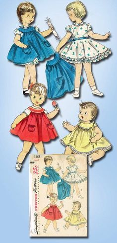 1950s Original Sweet Tiny Tot Dress Pinafore Pattern Sz 3 | eBay