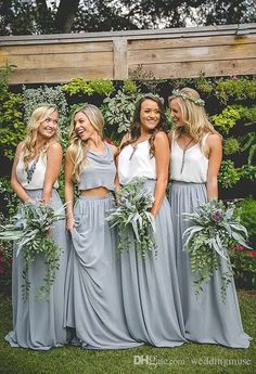 2018 Two Pieces Bridesmaid Dresses White Top And Light Grey Skirt A Line Chiffon Junior Bridesmaid Dresses Long Maid Of Honor Dress Watters Bridesmaid Dresses Yellow Bridesmaid Dress From Weddingmuse, $76.65| Dhgate.Com