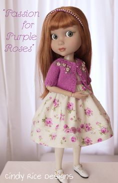 """Passion for Purple Roses"", a handmade ensemble for Wilde Imagination's Patience dolls. cindyricedesigns.com"