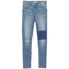 Fat Face Highwaist Superskinny Patch Jeans, Denim (£25) ❤ liked on Polyvore featuring jeans, skinny jeans, distressed skinny jeans, ripped jeans, light wash skinny jeans and high waisted distressed jeans