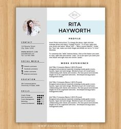 Creative Cv Template For Word  Rsum Template For Word  Cover