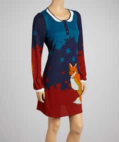 Loving this Blue Fox Shift Dress on #zulily! #zulilyfinds...GASP!  ARE YOU SEEING THIS?!  IT'S A DRESS WITH A FOX ON IT.  EEEEKKKK!
