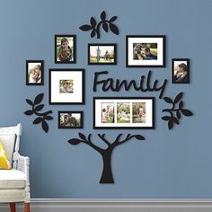 Family Tree Photo Frame Picture Collage Sticker Wall Mount Home Decor Family Tree With Pictures, Family Tree Photo, Family Tree Frame, Photo Tree, Family Photos On Wall, Family Picture Walls, Displaying Photos On Wall, Family Tree Mural, Family Clock