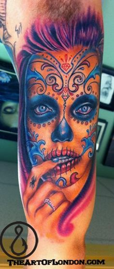 Brittan London Reese - Angelina Jolie Day of the Dead Color Portrait Tattoo