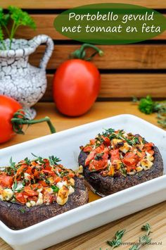 portobello-gevuld-met-tomaat-en-feta/ - The world's most private search engine Vegetarian Recepies, Veggie Recipes, Healthy Recipes, Vegetarian Barbecue, Hamburger Recipes, Barbecue Recipes, Vegetarian Cooking, Bbq, Tapas