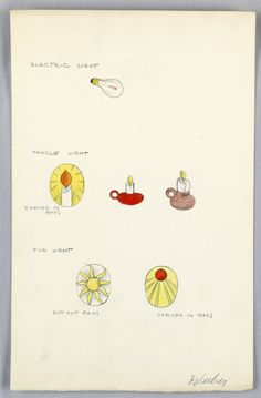 Official Marion Weeber Welsh Drawing, Button Design: Electric Light, Candle Light, Sun Light