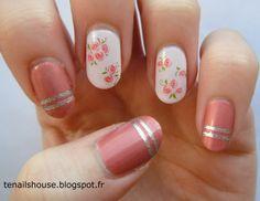 roses, pink flower nail art