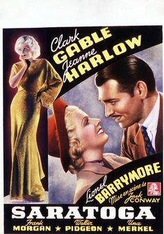 Directed by Jack Conway, Saratoga was MGM's biggest box office success in 1937. It starred Clark Gable and Jean Harlow in their sixth and final film collaboration. Jean Harlow died before filming was finished, and the movie was completed using stand-ins.
