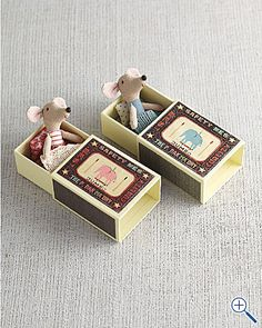"Matchbox Mice: Oh so cute! Choose Boy or Girl. Mouse: 4 1/2"". $28 - could be a good diy project!"