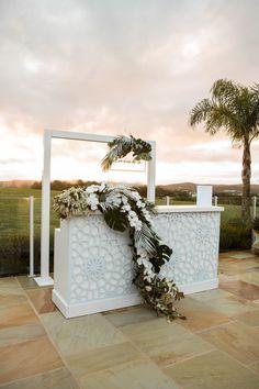 Blush Flowers - modern wedding florist, Auckland - Hollie Harris - Re-Wilding Pop Up Bar, Bar Set Up, Auckland, Bar Mobile, Modern Home Bar, Blush Flowers, Wedding Flowers, Wedding Greenery, White Bar