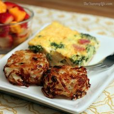 """Healthier hash browns -- Baked in muffin tin (or, she says, use mini-muffin pan for """"tater tot"""" version) ... Great for a brunch! http://www.theyummylife.com/Parmesan_Hash_Brown_Cups"""