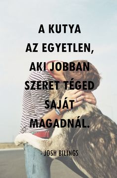 'A kutya az egyetlen, aki jobban szeret téegd saját magadnál.' - Josh Bilings Word 2, Life Is A Journey, Be Yourself Quotes, Animals And Pets, Einstein, Motivational Quotes, Best Friends, Lyrics, Wisdom