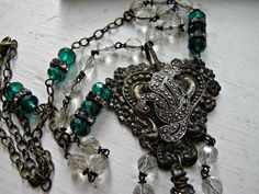 Queen of Green..antique/vintage assemblage by gypsyfishstudio, $95.00