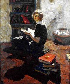 dean cornwell | Dean Cornwell, Ritratto di una giovane donna in lettura
