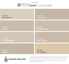 I found these colors with ColorSnap® Visualizer for iPhone by Sherwin-Williams: Grecian Ivory (SW 7541), Shiitake (SW 9173), Accessible Beige (SW 7036), Loggia (SW 7506), Pavilion Beige (SW 7512), Bungalow Beige (SW 7511), Dhurrie Beige (SW 7524), Tres Naturale (SW 9101).