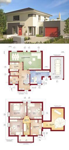 Einfamilienhaus mit Garage & Büro Anbau - Fertighaus bauen Grundriss Haus Evolution 145 V12 Bien Zenker Hausbau - HausbauDirekt.de