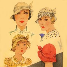 Instant PDF Digital Download Vintage Women's  McCall 1930s Hat , Millinery Sewing Pattern ~ # 112 Reproduction!