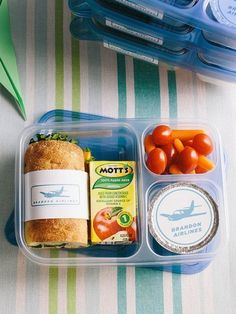 Banish midair munchies with a meal that's much better than the real-world version! Pack individual lunches in segmented food containers, as shown; for a flight-worthy look, add some labels (find our customizable ones below).                 Originally published in the August 2014 issue of FamilyFun magazine.