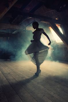 I don't know what this women is listening to or the style of dancing, but you can sense the dark feelings and passion because of the clever lighting.  My eyes are drawn to the beautiful silhouette that has been created by the structured skirt and rigid upper body angles.