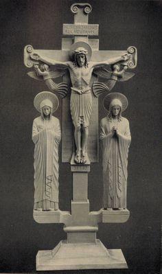 Beuronese Art / Beuroner Kunst Kreuzgruppe. #Beuroneseart #BeuronerKunst #crucifix