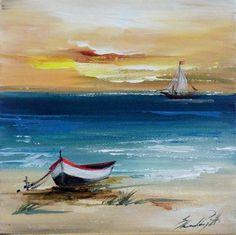Art gallery frame Source by mdealmeidaguerr 3d Canvas Art, Beach Canvas Art, Pictures To Paint, Art Pictures, Landscape Art, Landscape Paintings, Boat Painting, Seascape Paintings, Watercolor Paintings