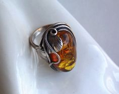 Sterling Baltic Amber Ring Art Nouveau style by popgoesmyvintage, $60.00