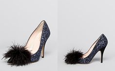 kate spade new york Pointed Toe Evening Pumps - Lilo Glitter Feather High Heel