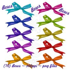 Instant Download Bows Clip Art Set by CheriesArtsnCrafts on Etsy, $2.50