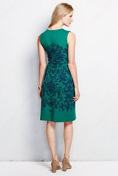 I adore these dresses. As of today, the green floral is on clearance and available just in size 10. Women's Sleeveless Pattern Ponté Welt Pocket Dress from Lands' End - $39.99