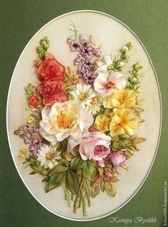 Купить или заказать 'Лето' от Lena Liu в интернет-магазине на Ярмарке Мастеров. Летние цветы по сюжету Lena Lui. Вышивка шелковыми лентами, тонированными и окрашенными вручную.