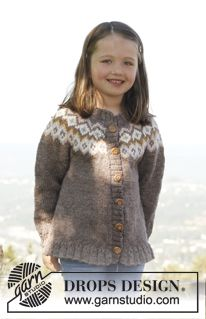 """Knitted DROPS jacket with round yoke and flounce in """"Karisma"""". Size 3 to 12 years. ~ DROPS Design"""