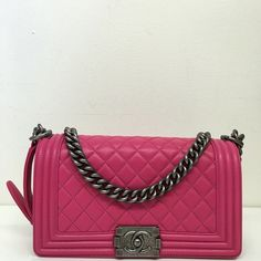 Chanel old medium boy flap bag pink Pristine condition. No signs of wear or smells. Lambskin leather with antique brushed silver hardware. Made in Italy. Dustbag and card of authenticity included. CHANEL Bags Shoulder Bags
