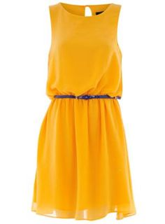 Yellow chiffon belted dress - View All  - Dresses  - Dorothy Perkins