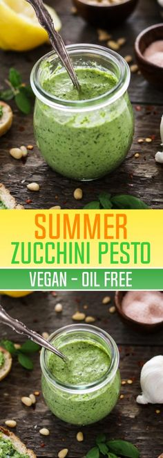 Are you up to your ears in garden zucchini yet? How about a fresh-tasting Zucchini Pesto to help you get through it? It's quick, easy, oil-free, vegan and delicious! Summer Zucchini Pesto (Vegan & Oil-Free) - http://veganhuggs.com/oil-free-vegan-zucchini-pesto/