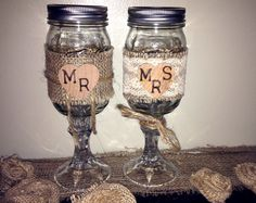 Bride and Groom / Mr. and Mrs. Rustic Burlap, Lace, Wood Stamped Redneck / Hillbilly Wine Glass Toasting Flutes on Etsy, $17.99