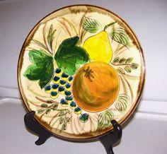 "Vintage Majolica Plate, Depicting Fruit, Pear, Orange, Grapes, 9"" wide,Colorful Hand Painted Design, Brown Trim"