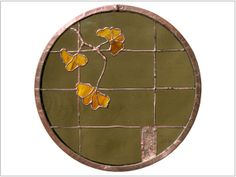 Stained Glass Rondel  Copper Border  Gingko by LouisPulzetti
