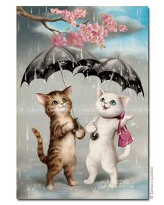 Cats in the Rain how adorable :) and that little pink bag she has made me giggle lol